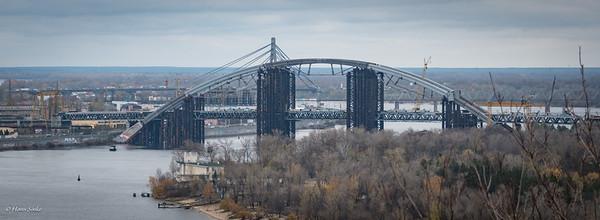 Podilsko-Voskresensky Bridge, construction started in 1993 and it still isn't finished.