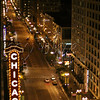 "<b>Chicago nightlife—11 June 2011</b>  I promised you icons! After seeing ""Chicago"" at the Oriental Theatre (around the corner), we returned to our room at The Wit. I was able to open our 15th-floor window just enough for this shot of State Street (looking south), including the famous Chicago Theatre sign."