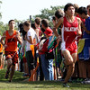 <b>Here they come!  Palatine Invite (Cross Country)—28 September 2013</b>  At pal/line master Greg's suggestion, I got on the ground to shoot the Varsity boys this race. It nearly eliminated interference from the other fans, and it gave me a new perspective. Here, Argeni and Graham are nearing the chute.