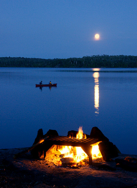Canoeing By Moonlight<br /> <br /> We had a great campsite on Gillis Lake with an open site line to the east allowing views of the moon throughout the evening. It is pretty hard to find something more enjoyable than canoeing by moonlight while loons are calling to each other from across the lake.