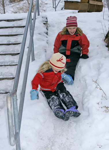 Ruby and Kate decided that sliding down the side of the icy steps was much more enjoyable then trying to walk down.