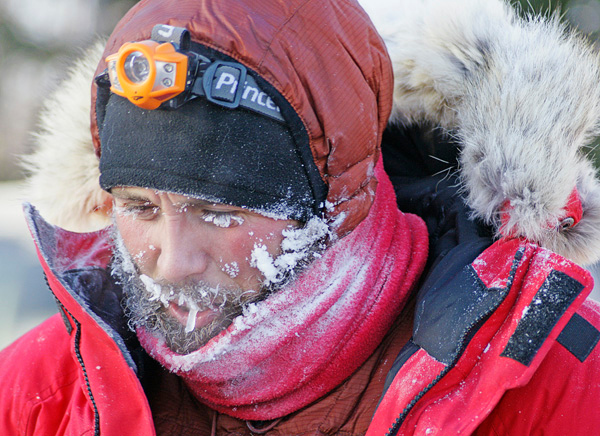 Beargrease Musher 003<br /> <br /> As Jason Barron, the winner crossed the finish line the temperatures were still -20 as shown by the frost on his face and dogs. Fifteen of the twenty-seven teams withdrew from the race due mainly to the severe weather conditions.