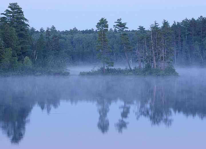 Early Morning Fog on Pipestone Bay<br /> <br /> The first morning we awoke to a layer of fog covering the water.