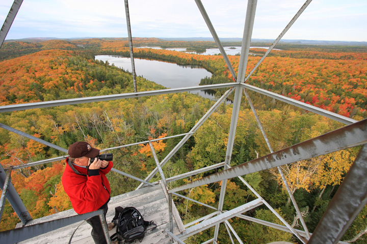 "Mount Sophie Fire Tower<br /> <br /> Travis took this photo of me on the fire tower. If you want to see more of his work click on his web site.  <a href=""http://www.travisnovitsky.com"">http://www.travisnovitsky.com</a>"