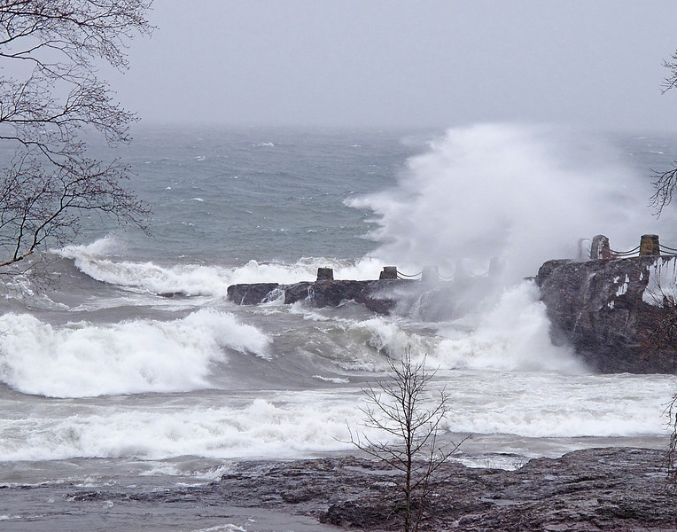 Angry Lake Superior 01<br /> <br /> Last week a huge storm dropped rain and snow on the North Shore. It produced strong Northeast winds that pounded the shoreline with some of the largest waves I have seen in some time.