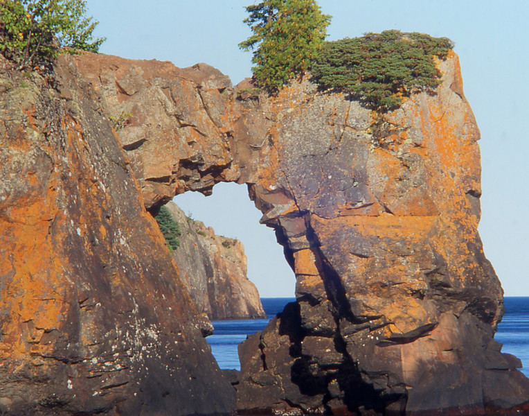 Tettegouche Sea Arch<br /> <br /> In this photo taken prior to the collapse you can see the cracked weakened rock that eventually brought the arch down.