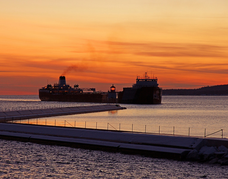 Roger Blough<br /> <br /> This week will be the last opportunity to view the ore boats moving up and down Lake Superior this winter. The locks close due to cold winter weather. Most of the ore carriers are already in winter layup in Duluth.