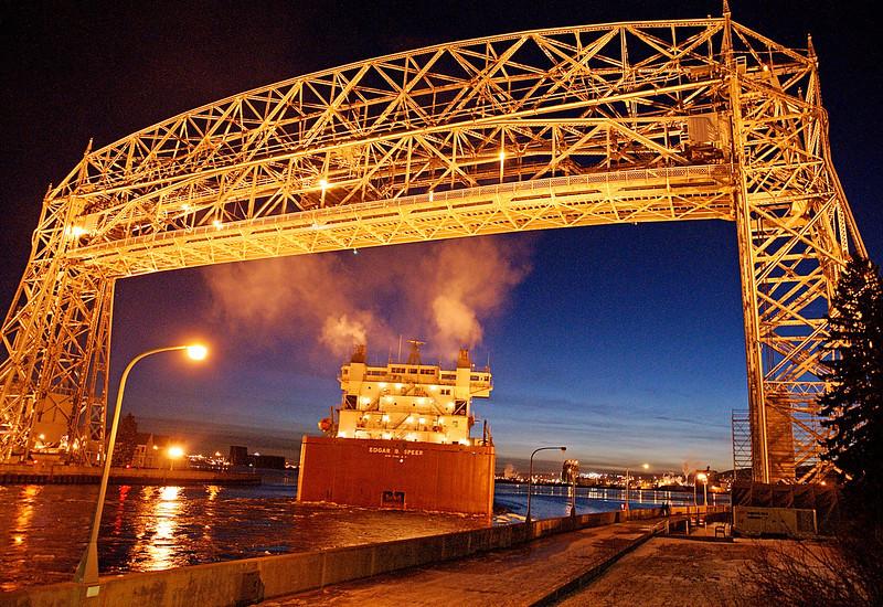 Edgar B. Speer 002<br /> <br /> Edgar B. Speer rounds the corner under the lift bridge in Duluth.