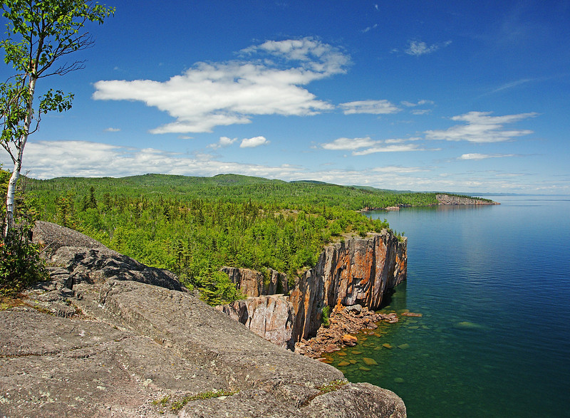 Tettegouche State Park 002<br /> <br /> Another shot of Tettegouche State Park. Most years Peregrine Falcons have a nest along this cliff. You can almost see the shape of a peregrine in the cloud hovering above the cliff.