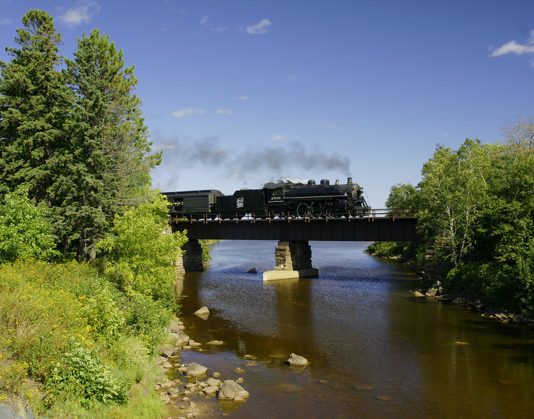 North Shore Scenic Steam Train<br /> <br /> On route to Duluth we photographed the steam train as it crossed the Knife River trestle.