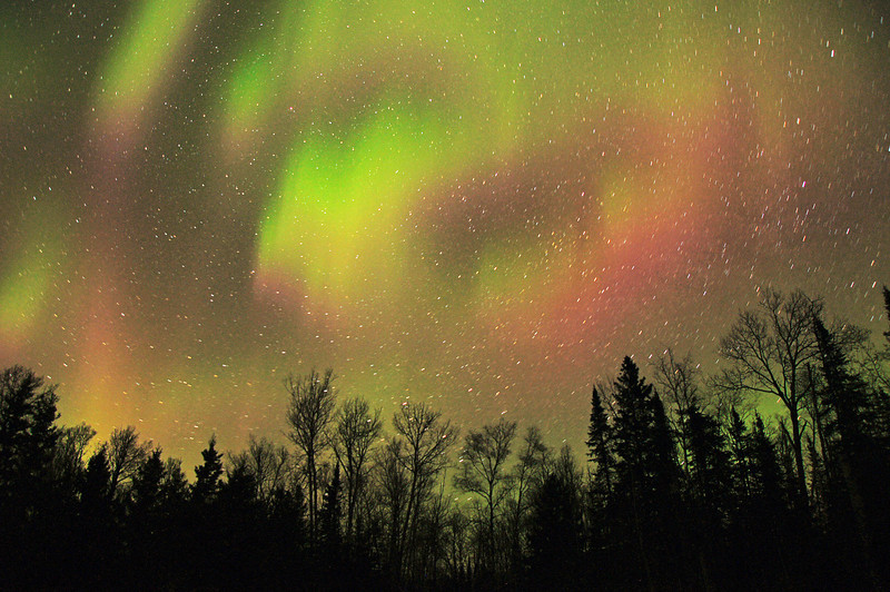 Aurora Borealis<br /> <br /> On April 23 there was an aurora alert. A level of 7 was forecast on a scale from 1 through 9. We looked outside around 10:30 p.m. and there were some auroras lighting up the sky but not anything special and decided to go to bed. When I got up at 1:30 a.m. I couldn't believe my eyes. The northern lights were shooting across the sky in constantly moving blue and green waves that started at the horizon and travelled directly overhead. I set the camera up on a tripod opened the shutter and went to wake Karla. When I got back the shutter had been open for 131 seconds. I thought that was too long but what I saw on the camera amazed me. We did not see the yellows and reds with our eyes but the digital camera picked up wave after wave of light for all 131 seconds and it turned out to be the best photo of the night. If you are wondering what all the white dots are it is the hundreds of stars that were shining ever so brightly.