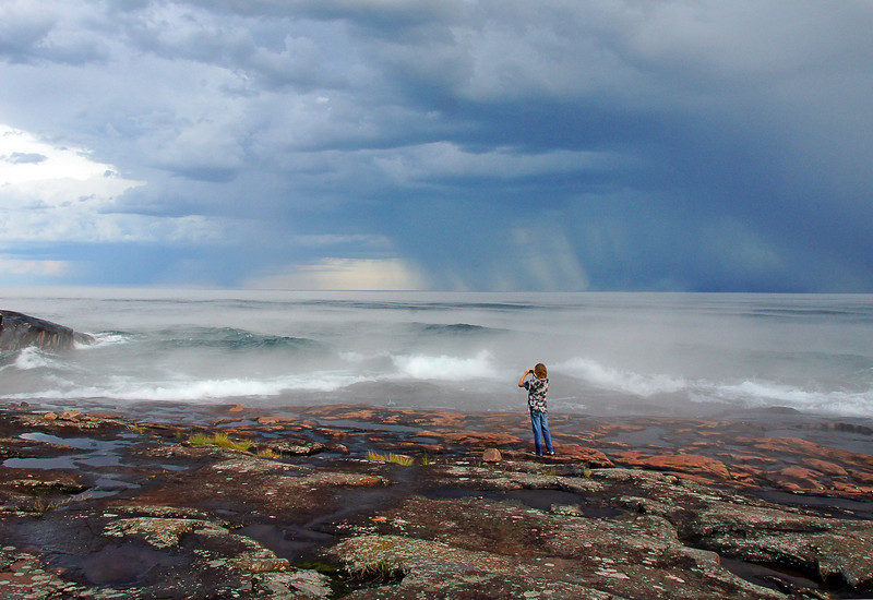Storm Over Grand Marais 004<br /> <br /> The pressure change produced winds that must have stirred up the waters of Lake Superior off shore as the surface of the lake went from dead calm to five foot waves in about fifteen minutes.