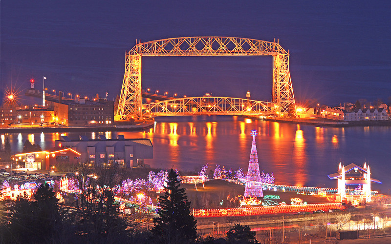"Bentleyville ""Tour of Lights"" and Duluth Lift Bridge 002<br /> <br /> Bentleyville ""Tour of LIghts"" is the largest holiday light show in the Midwest. The steel Christmas Tree is 12 stories tall and is covered by 50,000 LED lights."