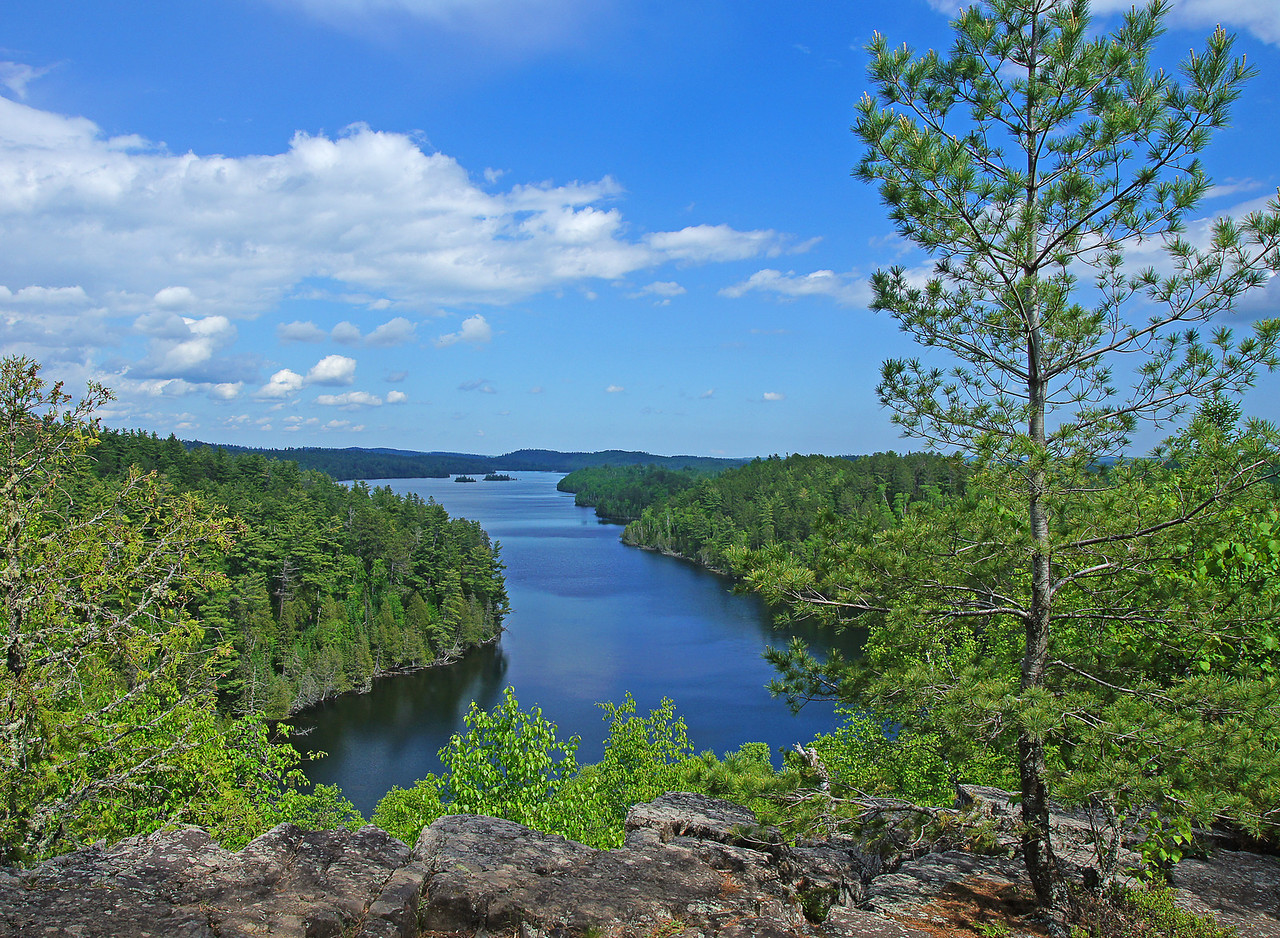 West Bearskin Lake from Caribou Rock Gunflint Trail<br /> <br /> We drove up the Gunflint Trail to catch a glimpse of the Boundary Waters Canoe Area Wilderness. It was just a short hike to Caribou Rock which overlooks West Bearskin Lake, a typical wilderness view.