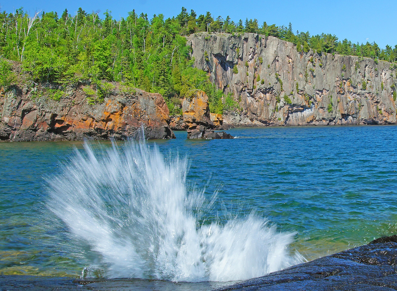 Tettegouche State Park 005<br /> <br /> There is one location on the west end of the beach that catches the waves sending the spray skyward.