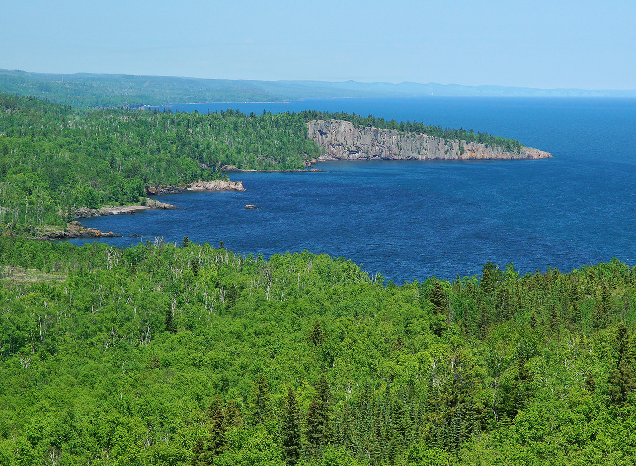 Tettegouche State Park 002<br /> <br /> We hiked to the top of Palisade Head where there are awesome views of Lake Superior and of Shovel Point in the distance. The waves were just big enough to produce the intense blue color Lake Superior is known for.