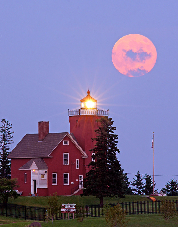 Two Harbors Lighthouse with Moonrise