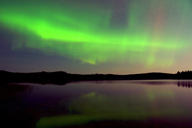 Aurora Borealis 002<br /> <br /> Caribou Lake was like glass. We hardly had time to set up our tripods when the sky exploded with color.