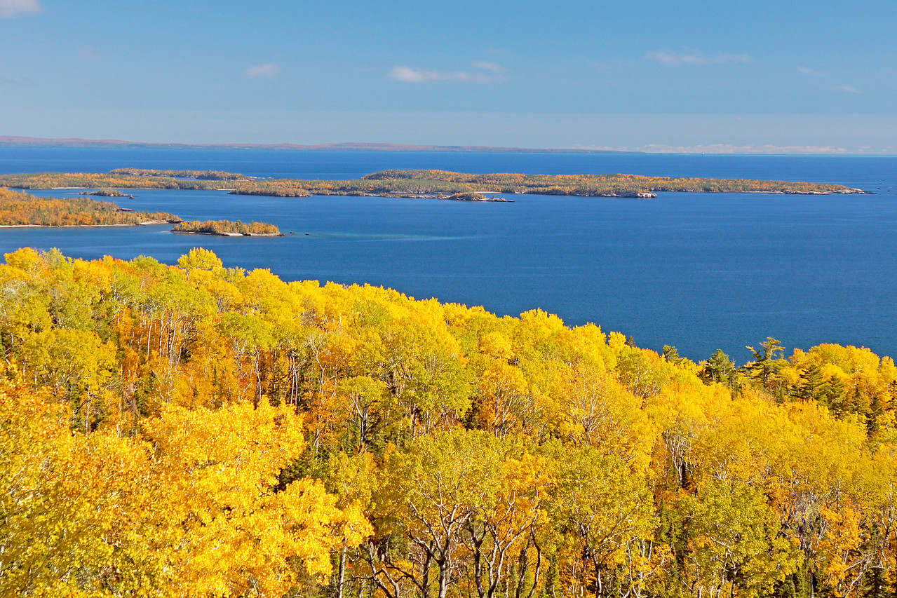 View From Mt Josephine Grand Portage<br /> <br /> A new overlook has been constructed on Mt Josephine so that you can get a beautiful view of the Susie Islands and Isle Royale in the background.