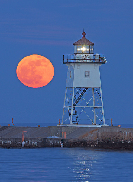 "Full Moon Grand Marais Light Station 003<br /> <br /> This month's moon is called the ""Maple Sugar Moon""."