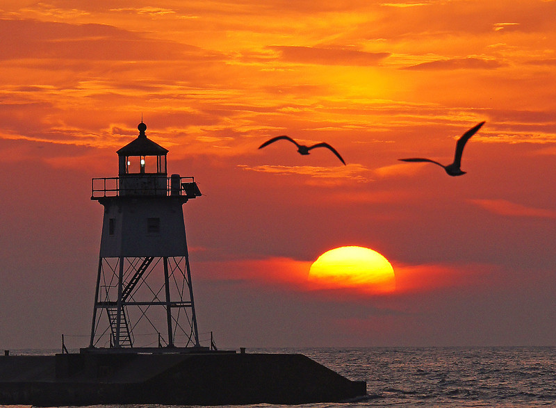 Grand Marais Sunrise<br /> <br /> Lake Superior can produce some pretty impressive sunrises but this image is one of my favorites due to the gulls passing by the lighthouse.