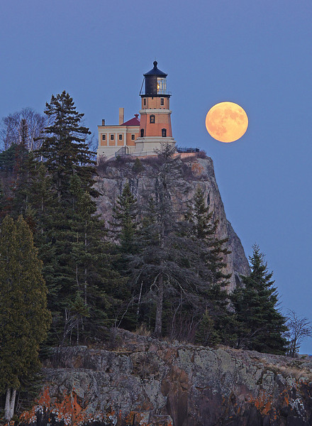 Hunters Moon over Split Rock<br /> <br /> Catching the full moon over Split Rock is harder than it looks. Not because of composition or timing but because of clouds. October was the only month I was able to photograph the full moon at Split Rock in 2012 due to cloud cover.