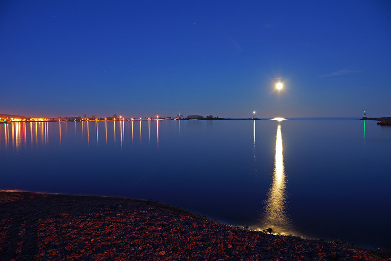 Full Moon over Grand Marais Harbor