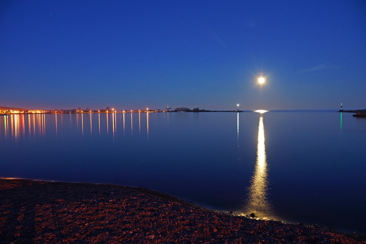 Full Moon over Grand Marais Harbor