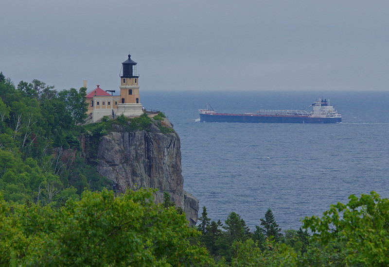 Split Rock Lighthouse State Park<br /> <br /> There was lots of shipping activities this week along the North Shore. We saw this ore boat pass right behind Split Rock Lighthouse.