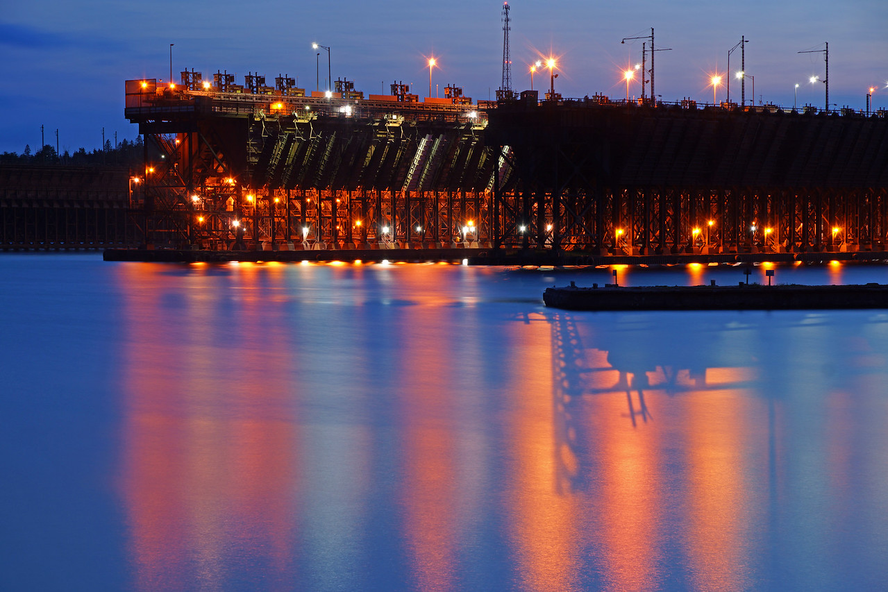 Two Harbors Ore Docks<br /> <br /> That evening the lights of the ore dock were reflected in the waters of Agate Bay.