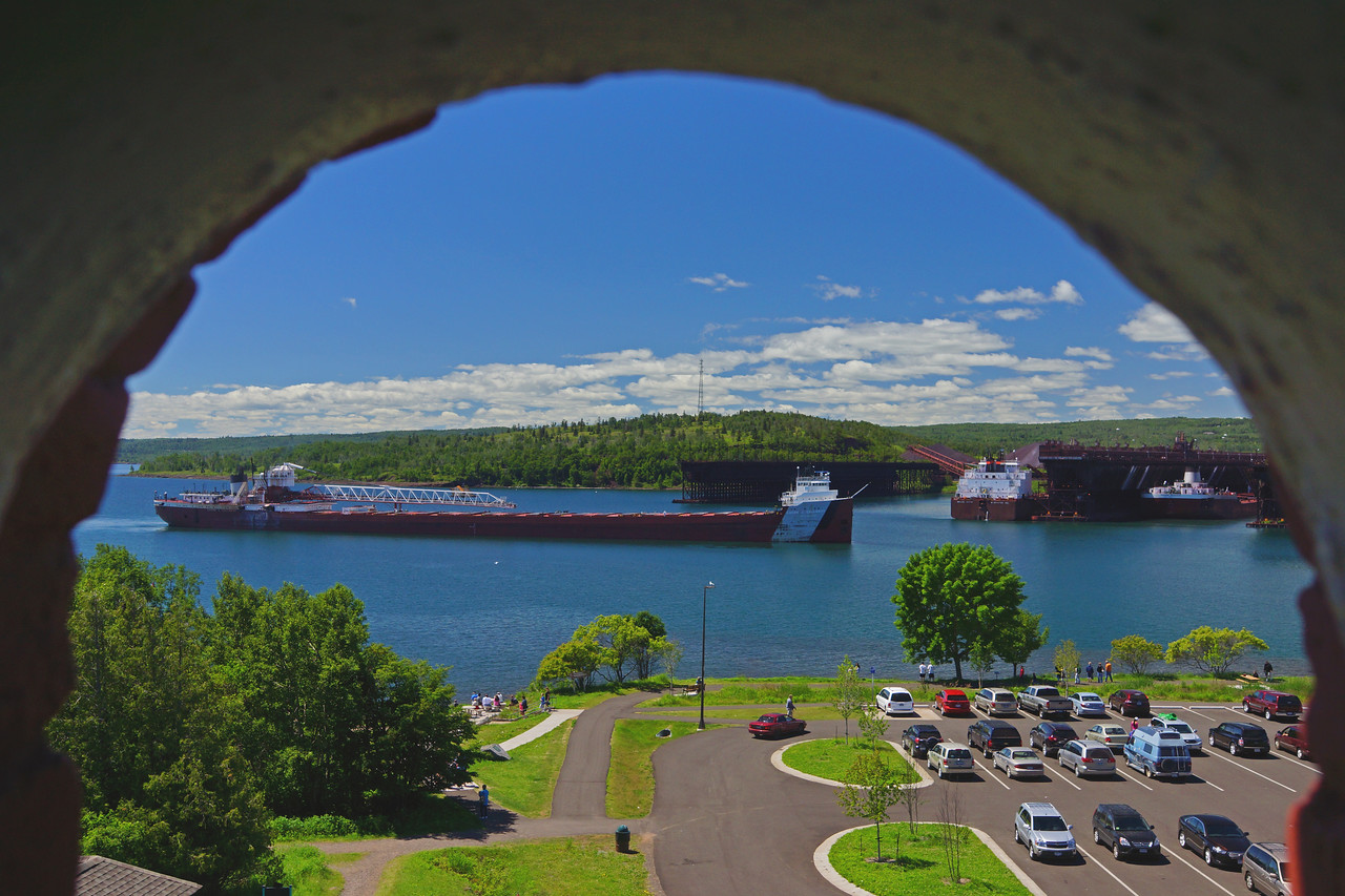 Two Harbors Light 002<br /> <br /> I went up in the Two Harbors lighthouse to watch the ore boats enter Agate Bay in Two Harbors. This photo was taken out of the top of the lighthouse window.