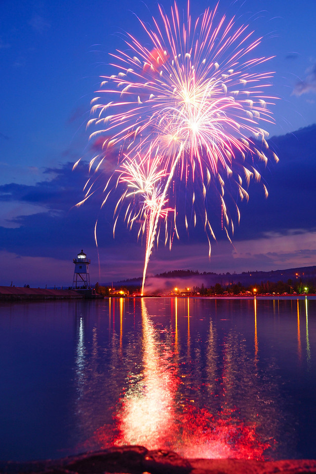 Fireworks 003<br /> <br /> Large crowds of Grand Marais visitors lined the harbor enjoying the beautiful evening.