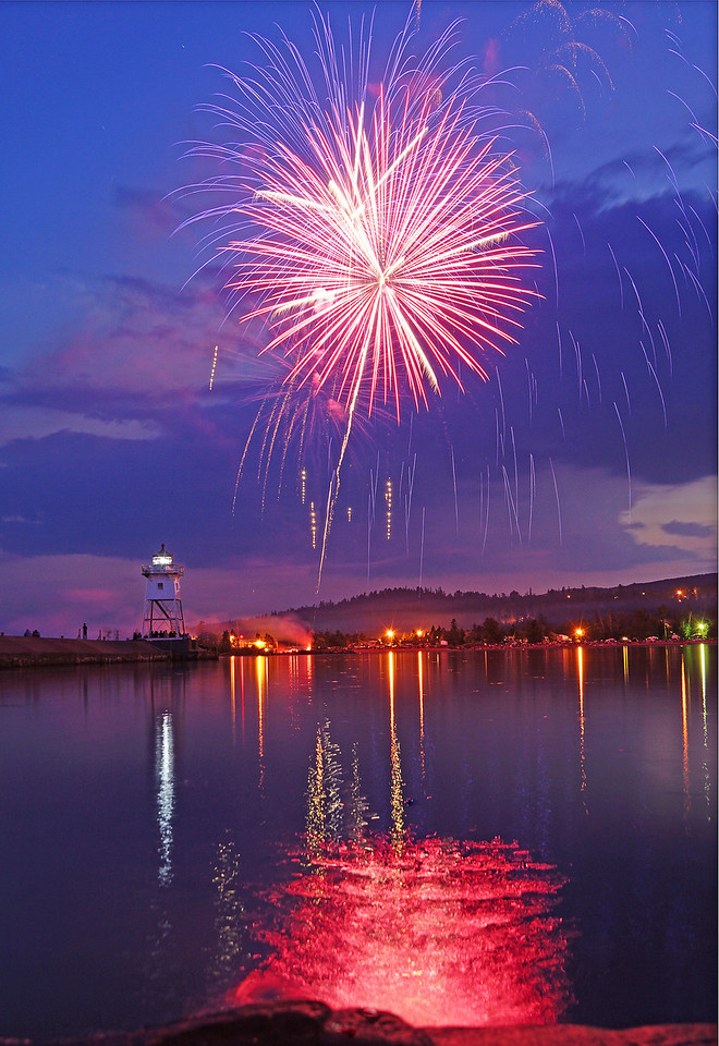 Fireworks 002<br /> <br /> The surface of the harbor was like glass reflecting the many colors of the fireworks.