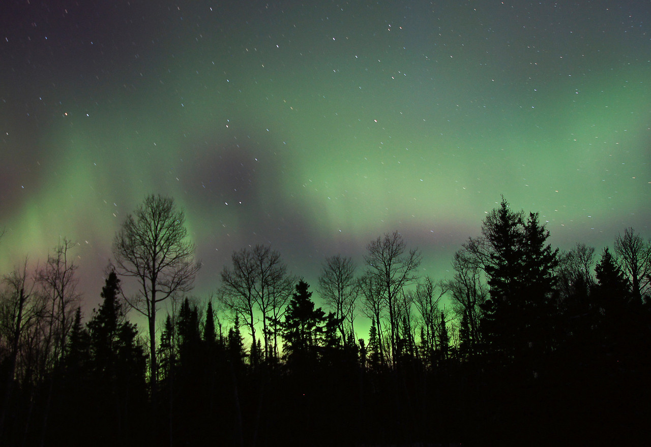 Aurora Borealis 004<br /> <br /> Yesterday the temperature had dropped from thirty above zero to ten below zero. As a result the trees were popping and snapping in the calm morning air. It was like I was surrounded by small caliber gunfire.