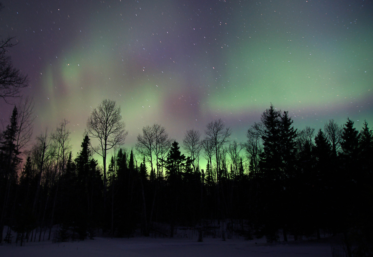 """Aurora Borealis 002<br /> <br /> I grabbed my camera, stepped out into the crisp ten below temperatures and set up my tripod.  I set the camera to a 30 second exposure and stepped back to take it all in.  The verse came to mind, """"The skies proclaim the work of His hands""""."""