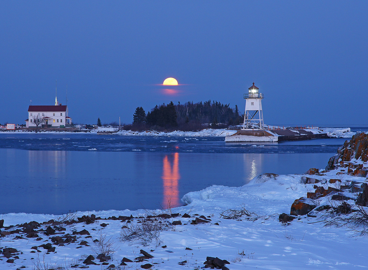 Feb Full Moon Over Grand Marais Harbor 003