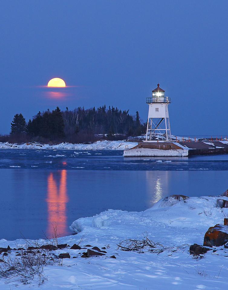 Feb Full Moon Over Grand Marais Harbor 004