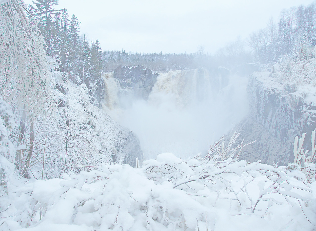 May Snowstorm Grand Portage 003<br /> <br /> When I got to the falls I was glad I had my raincoat as spray was continuously coating the walkway and overlooks.