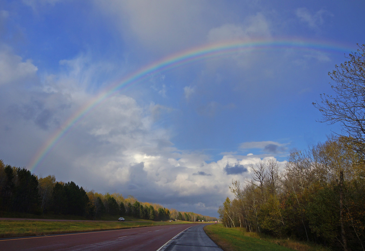 Rainbow over HWY61<br /> <br /> We saw two awesome rainbows yesterday. The first was a full rainbow on the expressway between Duluth and Two Harbors.