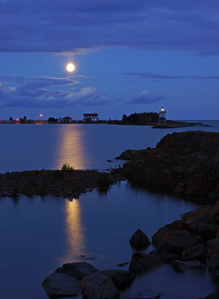 "Grand Marais moonrise<br /> <br /> I did get a photo of the moonrise in the Grand Marias harbor last week so I included it in with this week's ""Photo of the Week""."