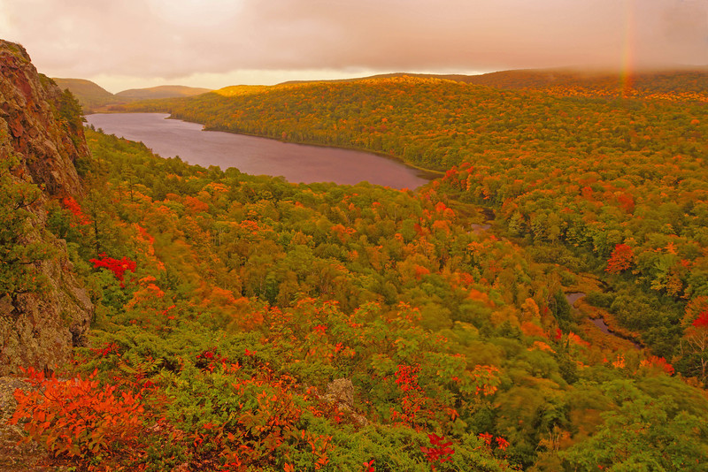 """Lake of the Clouds 001<br /> <br /> The first place we camped in the UP was at Porcupine Mountains State Park. The park's most scenic attraction is """"Lake of the Clouds"""" located in a valley at the top of the Porkies. We were able to capture both a rainbow and a beautiful sunrise over the lake."""
