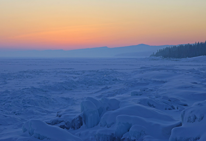 Sawtooth Mountains and Lake Superior Locked in Ice