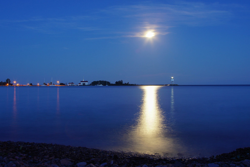 Moonrise over Grand Marais Harbor
