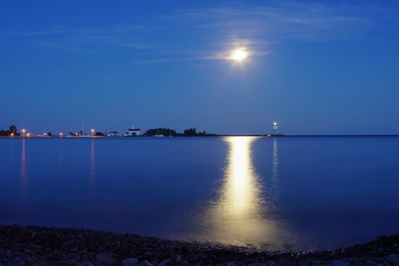 Moonrise over Grand Marais Harbor