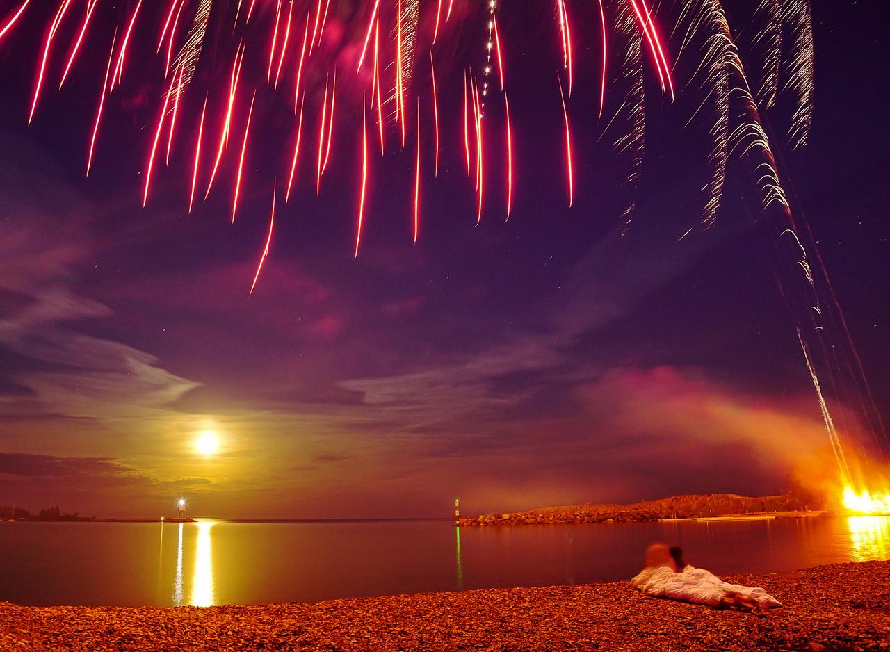 Fishermen's Picnic Moonrise and Fireworks