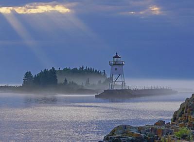 Fog Grand Marias Harbor