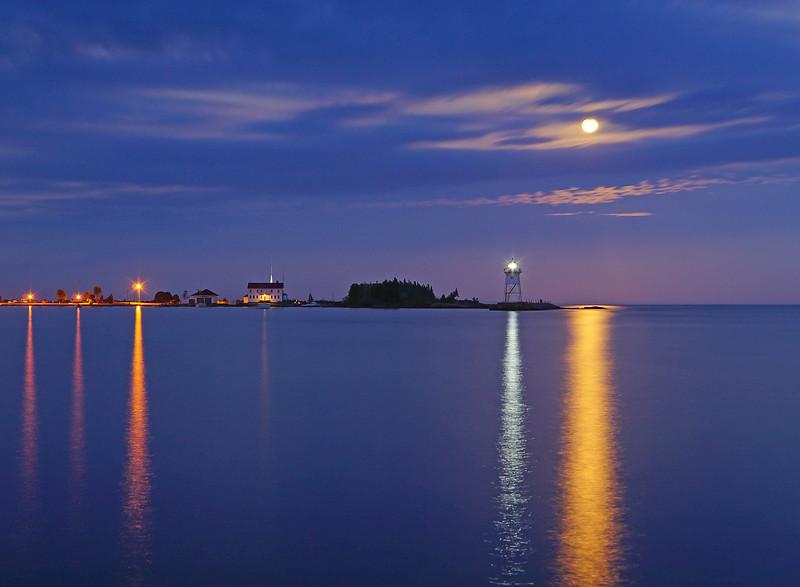 Moonrise over Grand Marais Harbor 002