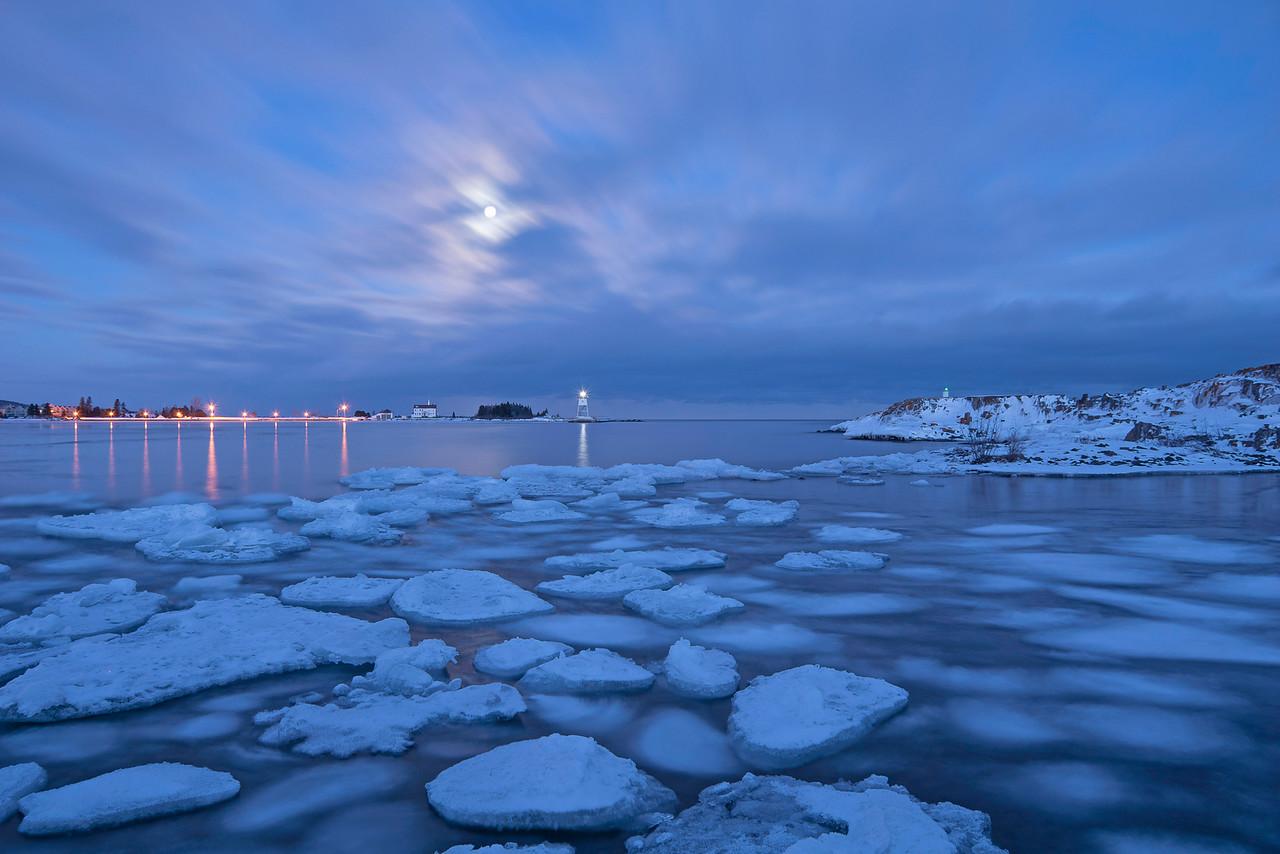 Moonrise Over Grand Marais Harbor 001