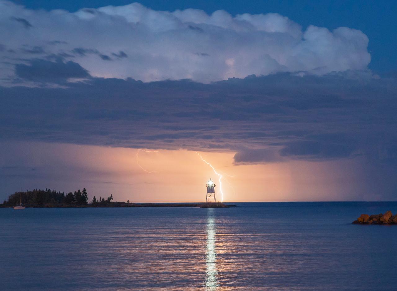 Lightning Over Grand Marais Harbor 002