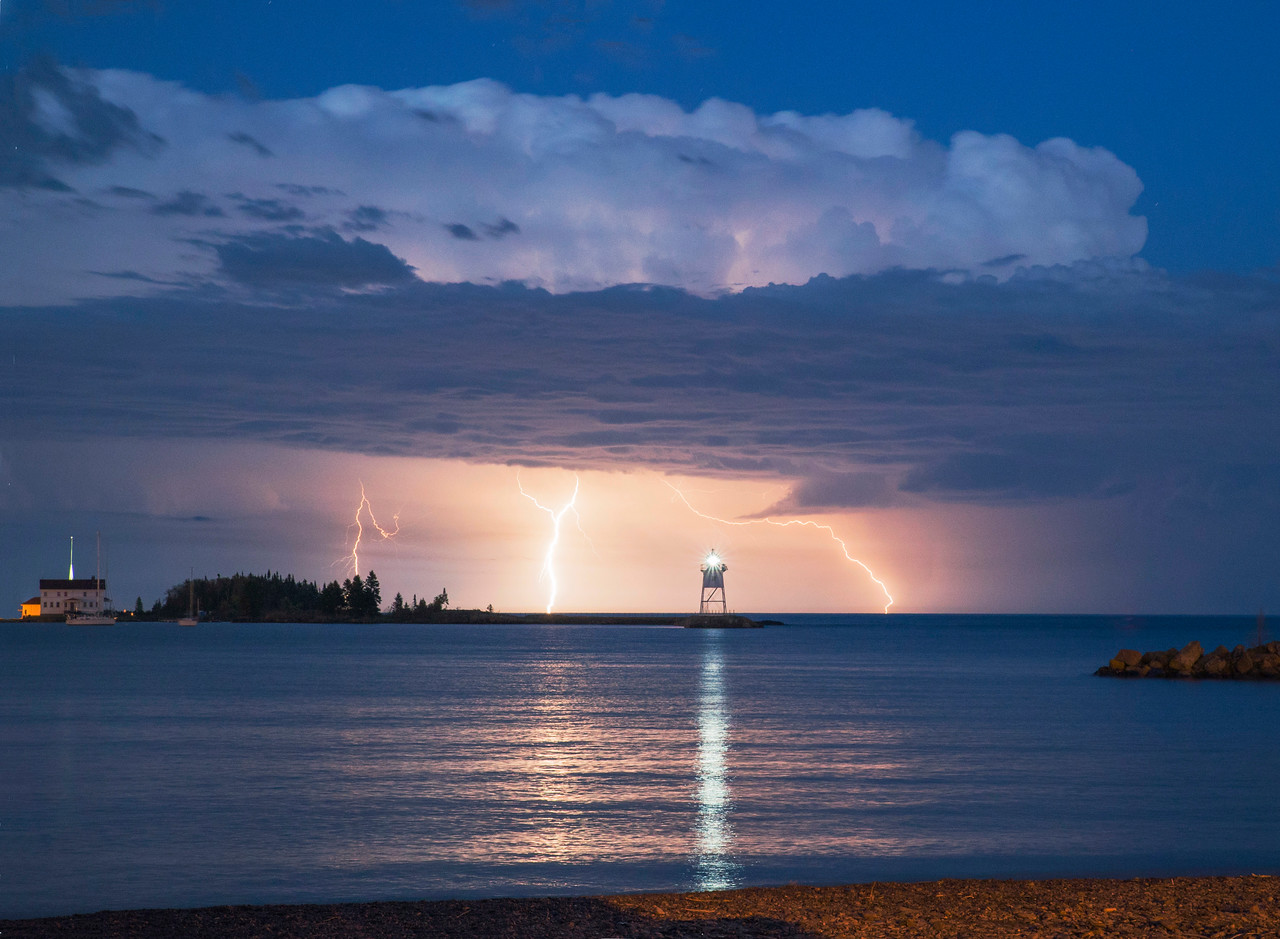 Lightning Over Grand Marais Harbor 001